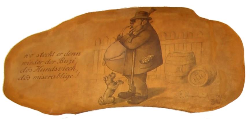 Buzi auf dem Wandgemälde im Bräustüberl Tegernsee