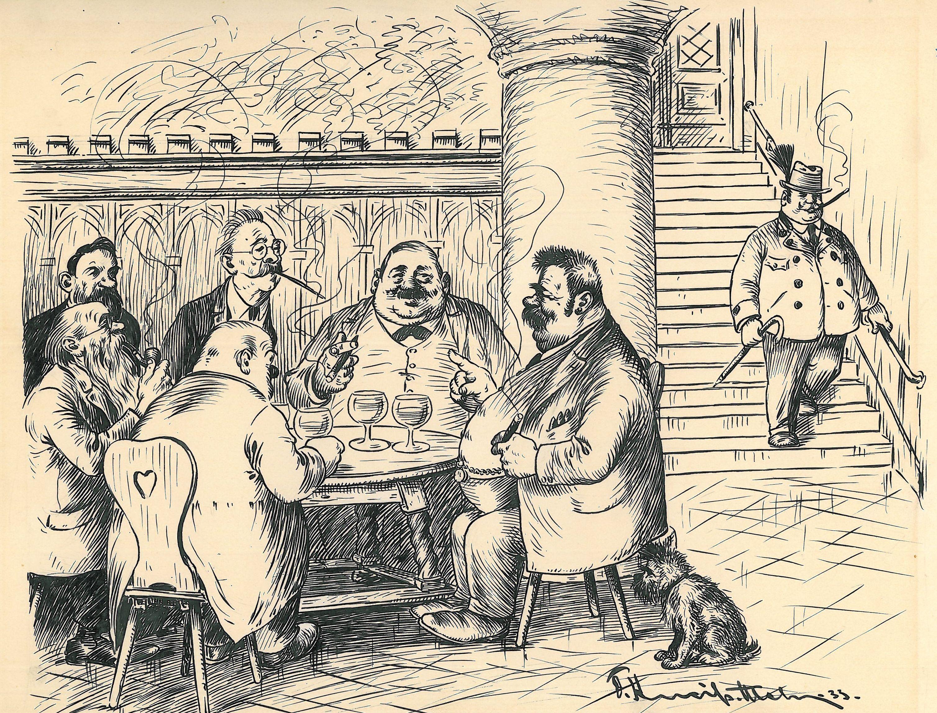 Originalbild: Eine gemütliche Herrenrunde in einem Keller