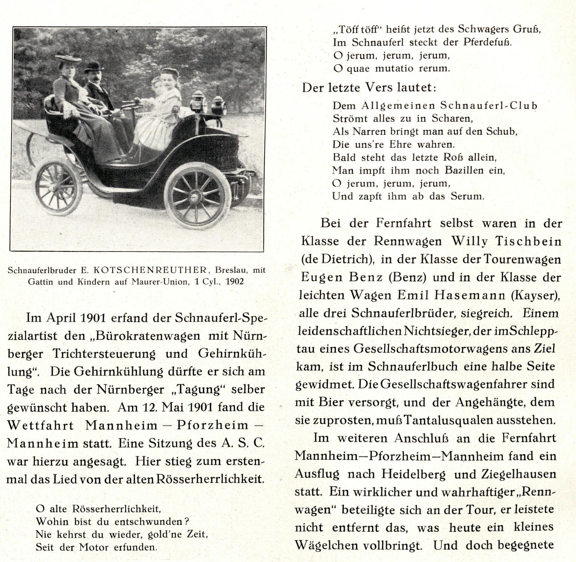 """""""Wettfahrt"""" Mannheim-Pforzheim-Mannheim in der Festschrift 1925"""