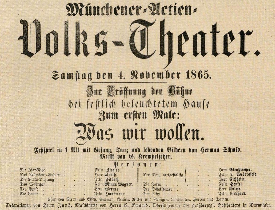 Programm der Eröffnungsvorstellung des Gärtnerplatztheaters