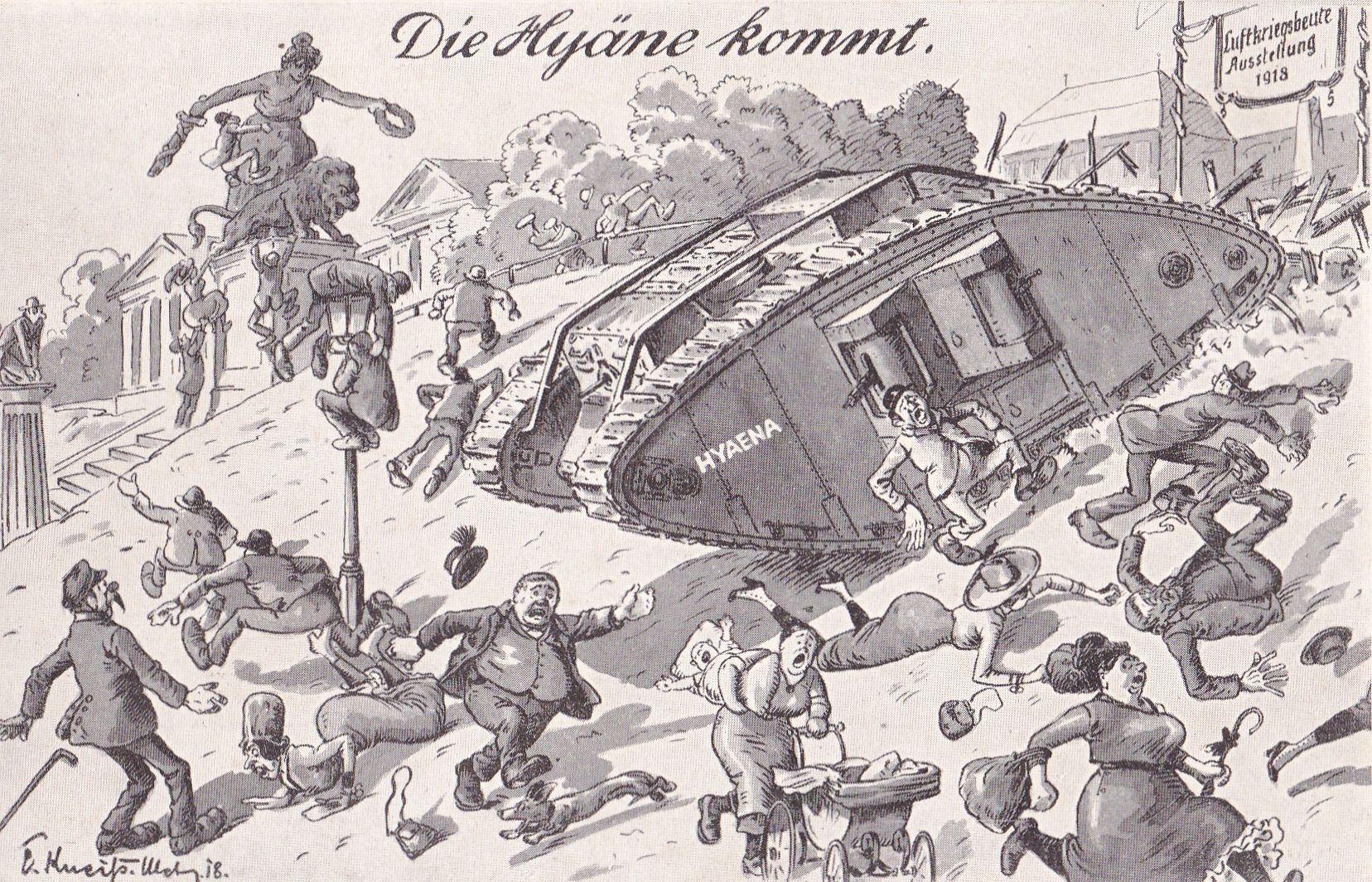 """Postkarte: """"Die Hyäne kommt"""""""