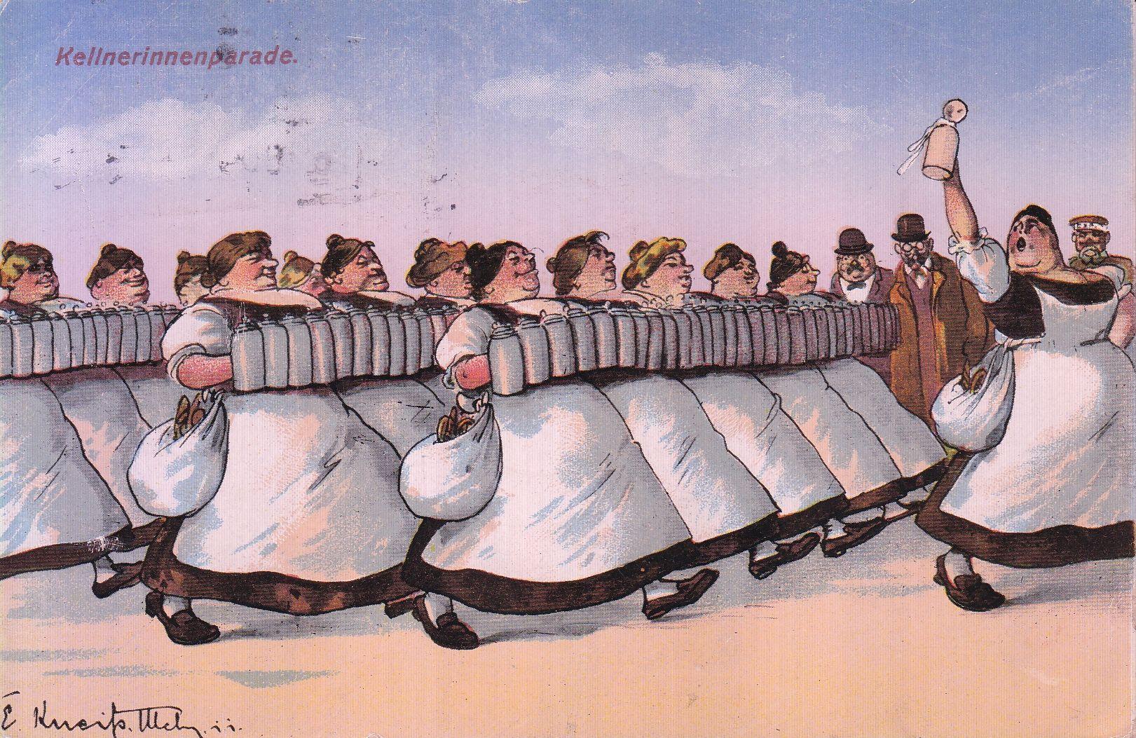 "Postkarte ""Kellnerinnenparade"" von Emil Kneiß (1911)"
