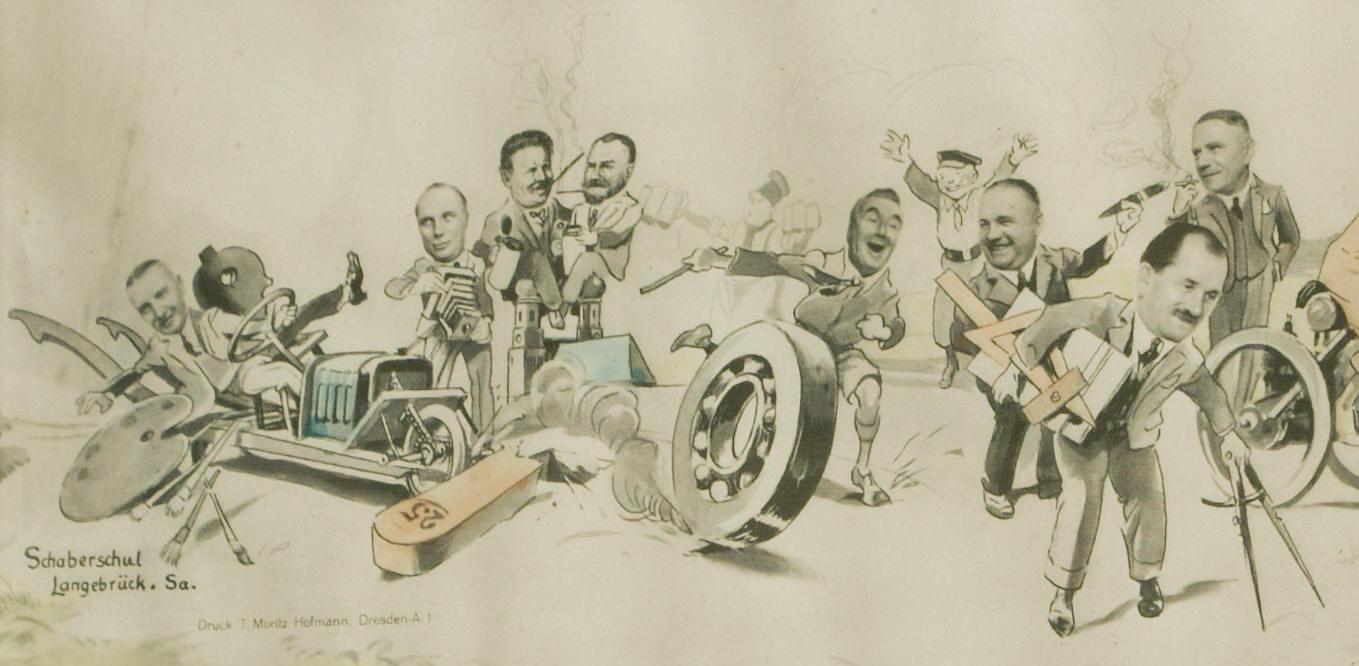 Kneiß und Richard Braunbeck auf der Glückwunschkarte; Porsche ganz rechts