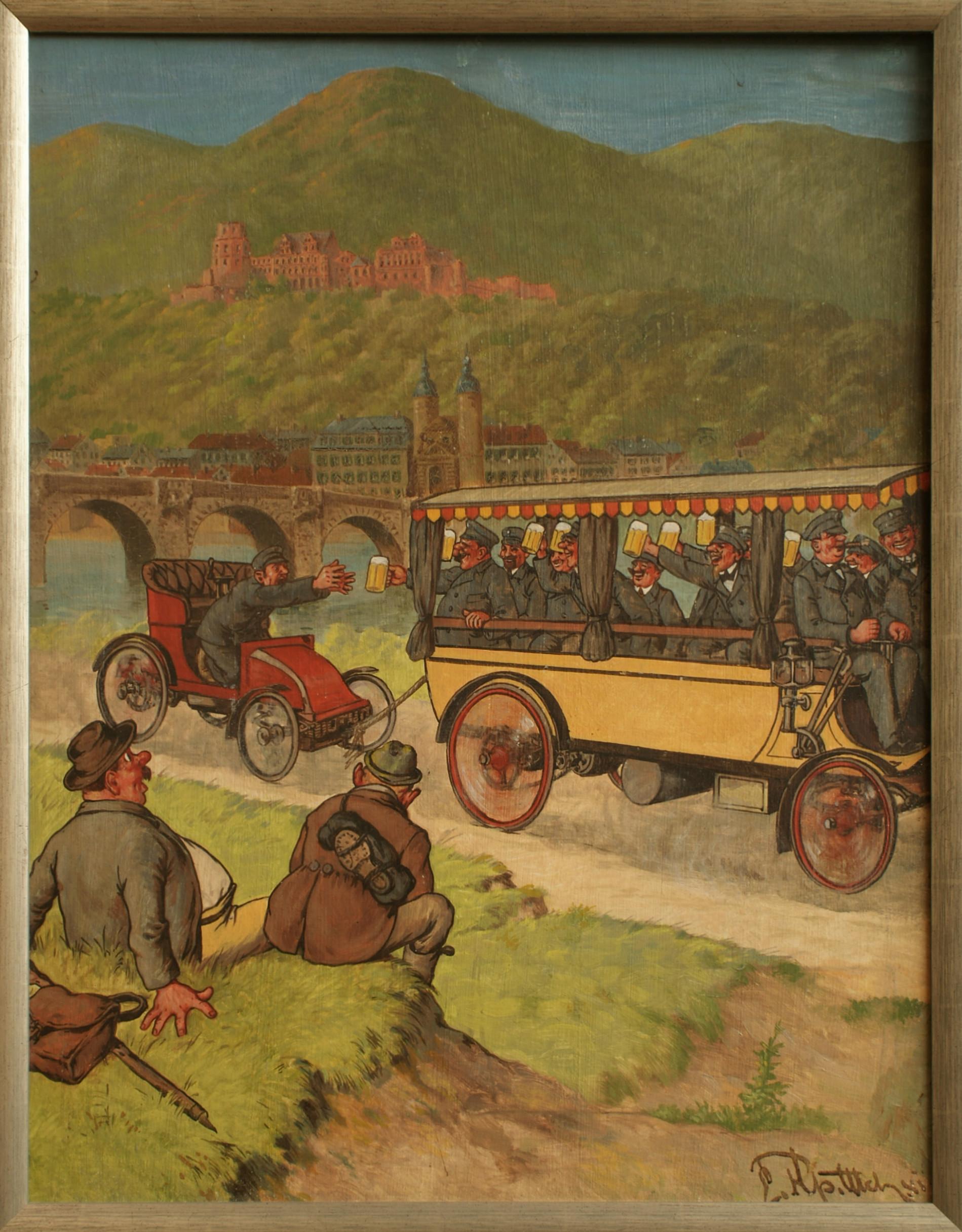 Szene aus einer Wett-Fahrt Mannheim-Pforzheim-Mannheim 1901