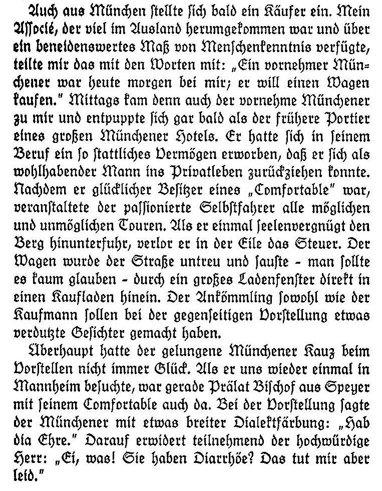 """Aus der """"Lebensfahrt eines deutschen Erfinders"""" von C. Benz"""