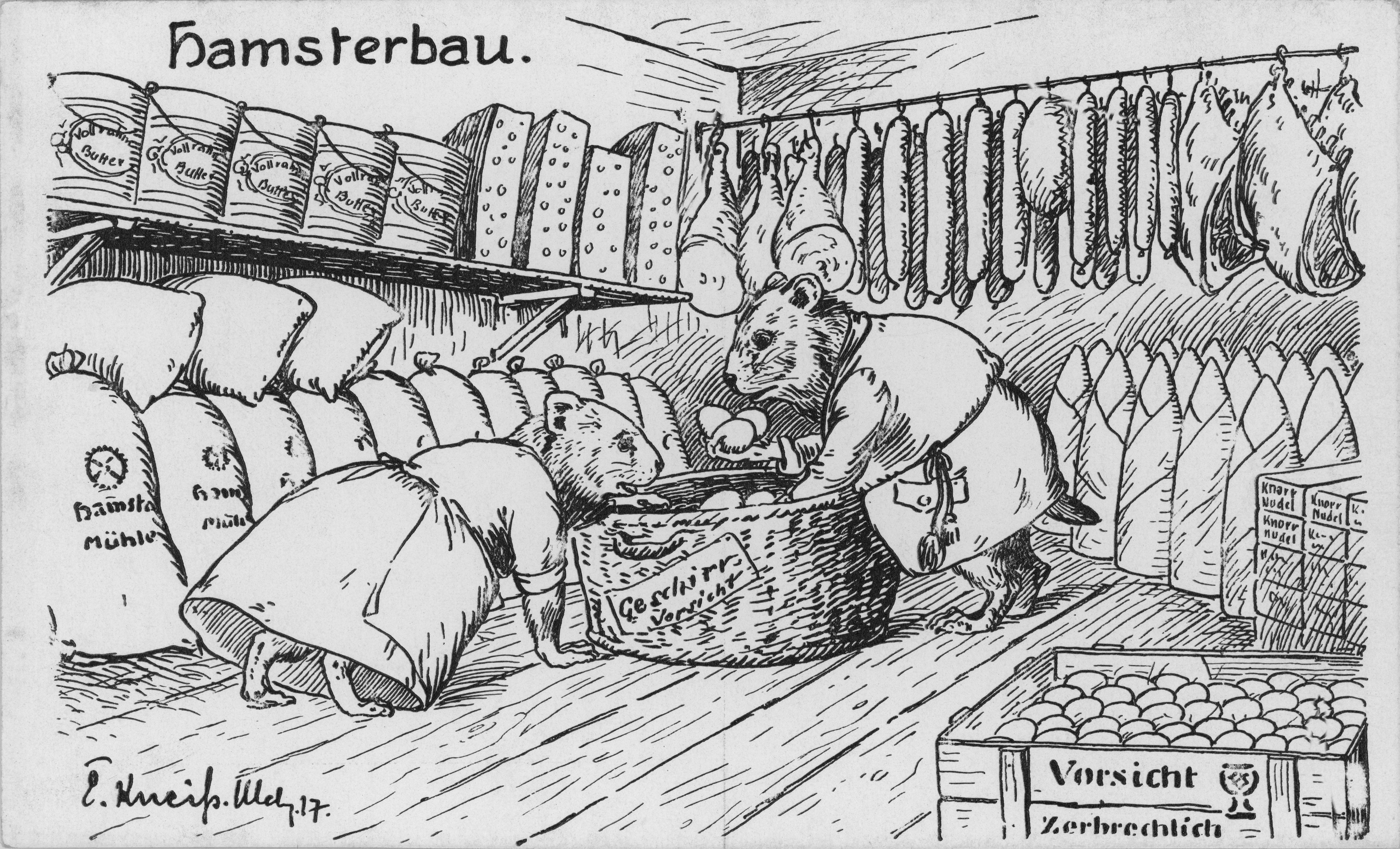 """Bild: Zwei Hamster packen die Ware in """"Geschirrkörbe"""" ein"""