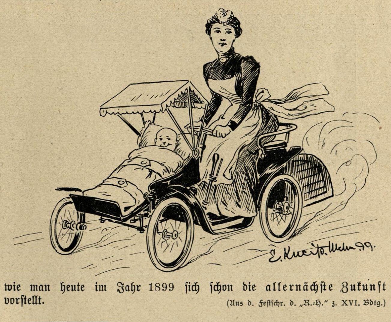 Kindermädchen mit motorisiertem Kinderwagen
