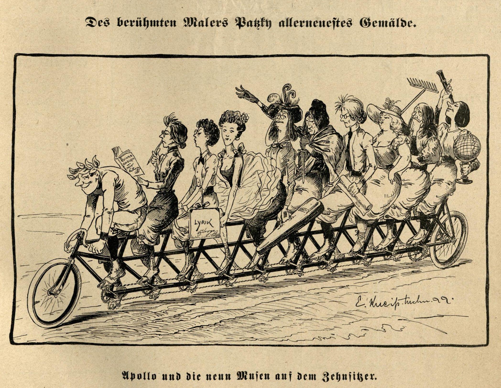 Bild: Apollo und die neun Musen auf dem Zehnsitzer (1899)