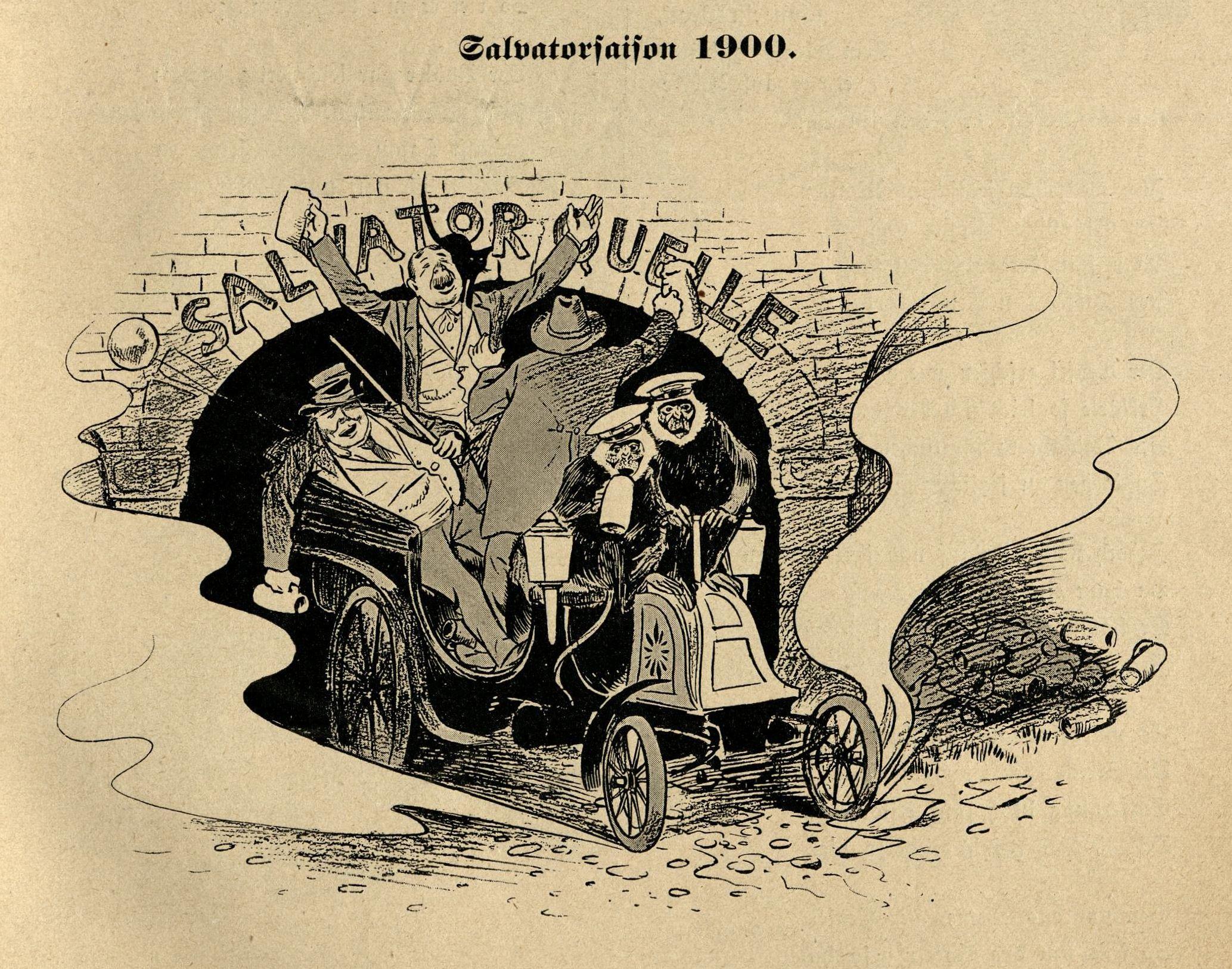 Ein Auto verlässt das Gewölbe zur Salvatorquelle