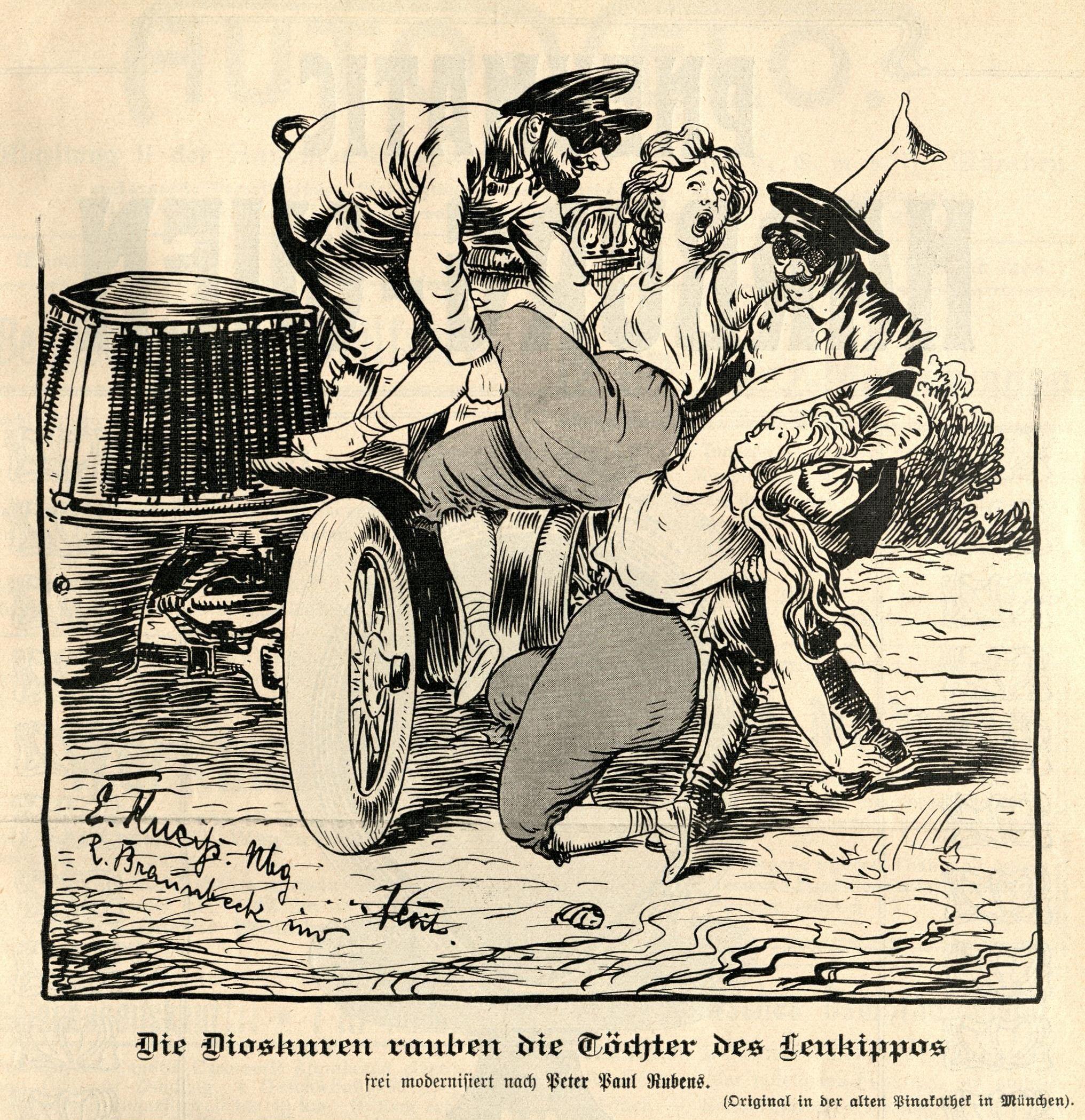 """""""Die Dioskuren rauben die Töchter des Leukipp"""" frei modernisiert nach Rubens"""