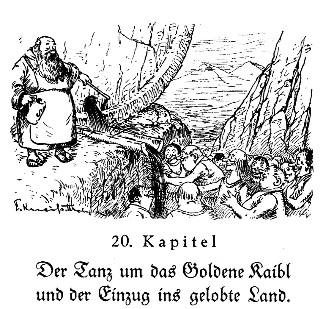 Moses schlägt an den Felsen, aus dem nun Bier rinnt.