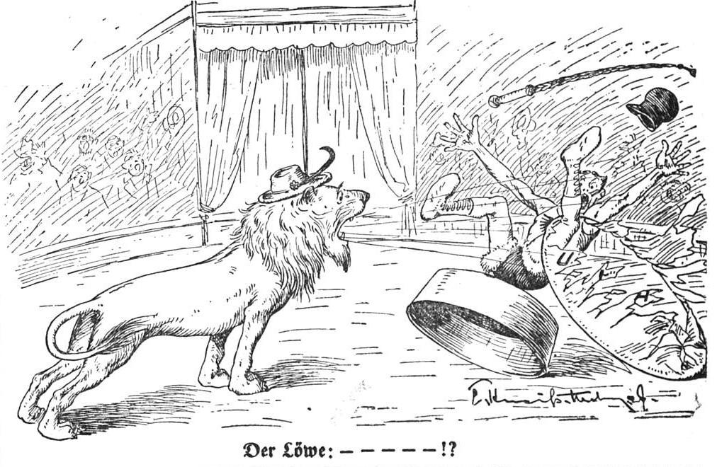 Der Löwe (brüllt den Reichsdompteur von seinem Sockel)