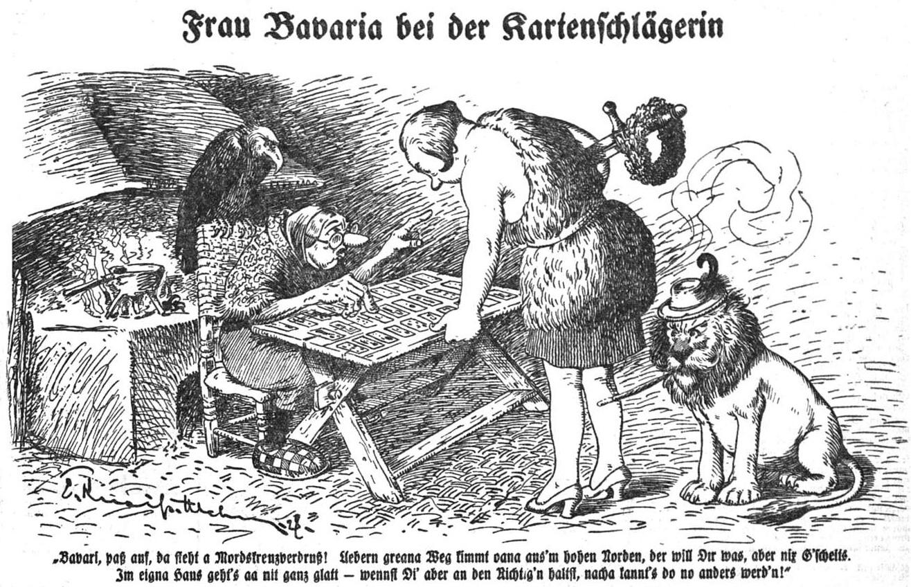 Frau Bavaria bei der Kartenschlägerin