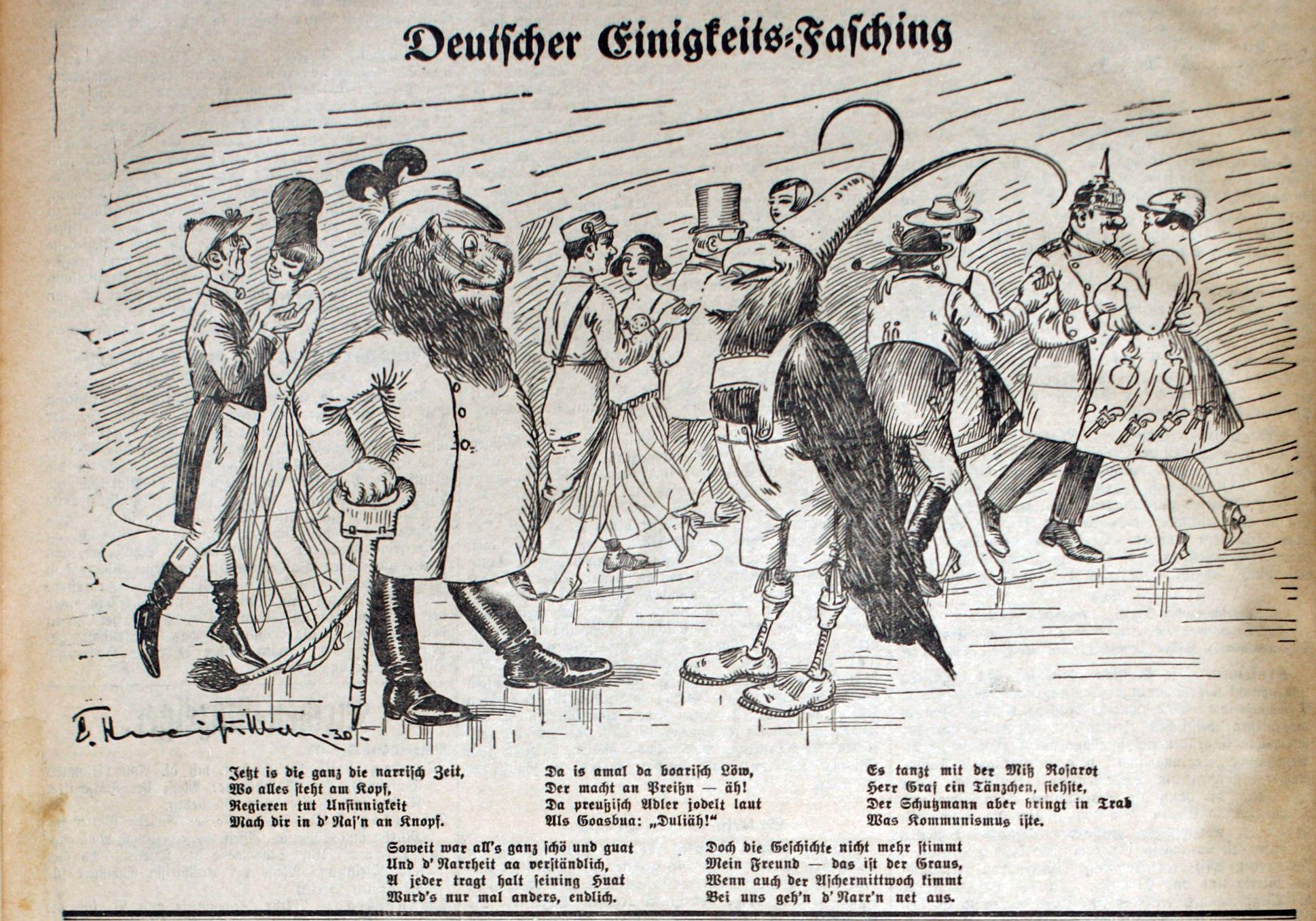 Deutscher Einigkeits-Fasching: Löwe als Preiß, Adler als Goasbua