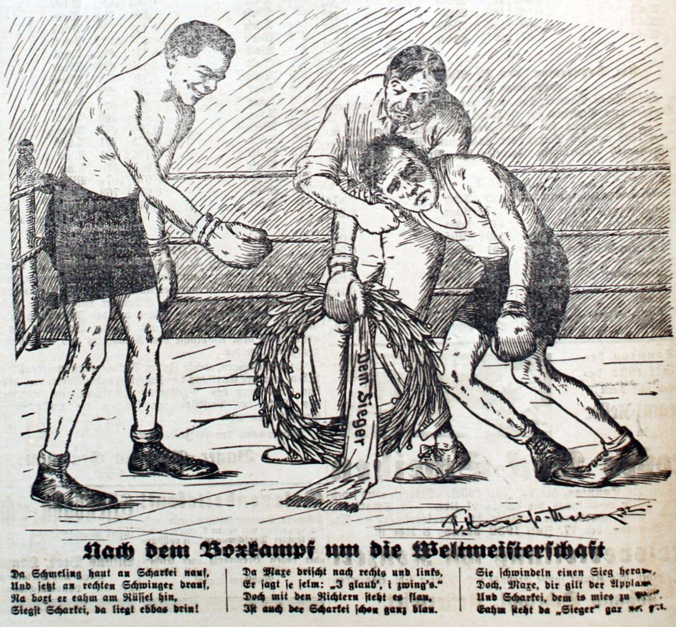 Bild: Max Schmeling verlor am 31. 6.1932 den Rückkampf gegen Sharkey nach Punkten
