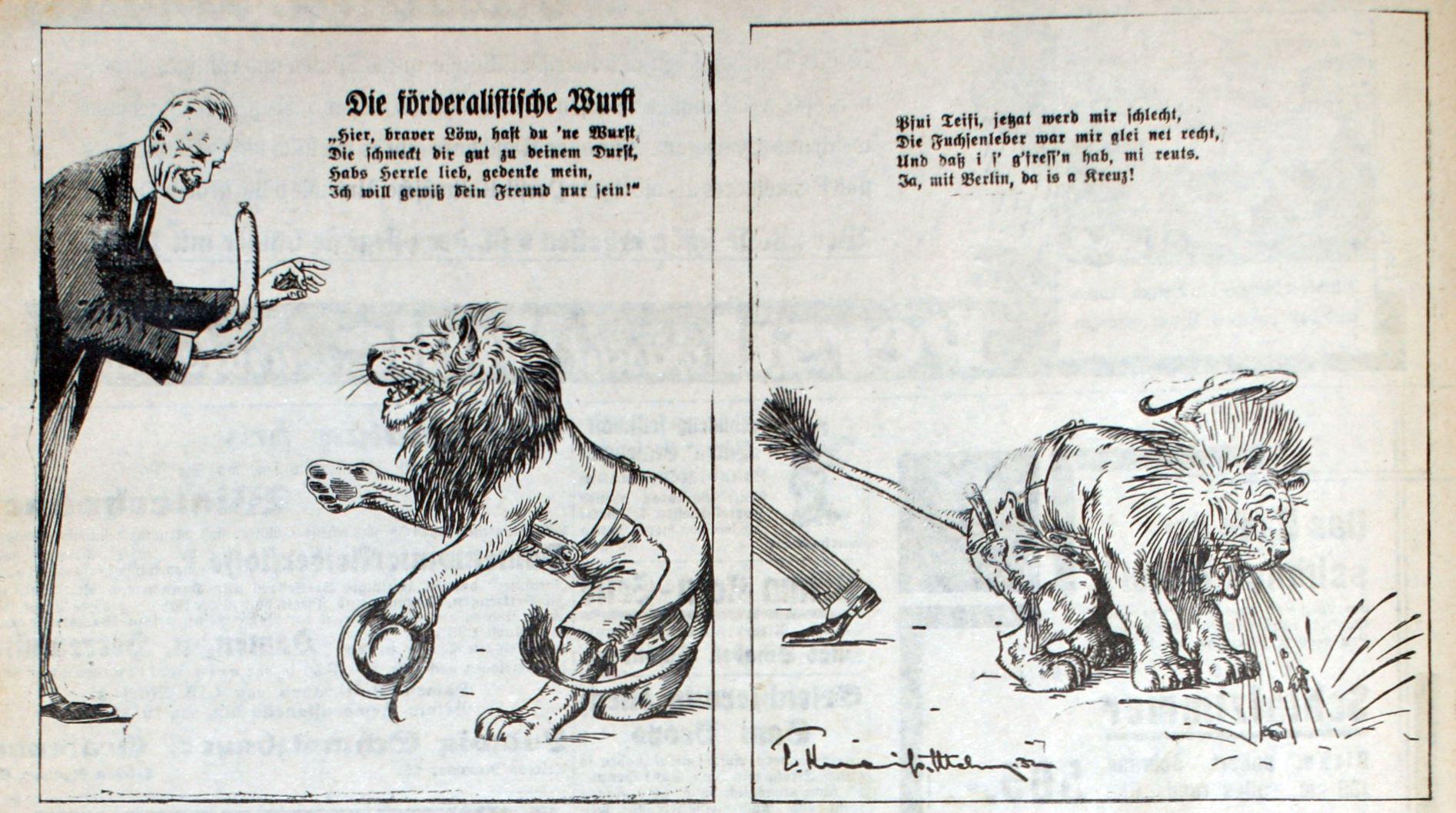 """Der bayerische Löwe verträgt die von Papen angebotene """"förderalistische Wurst"""" nicht."""