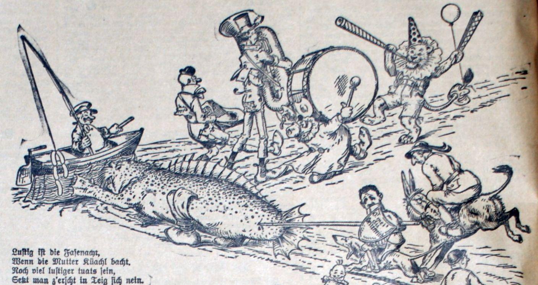 Faschingszug 1934: Loch Ness und Dollfuß