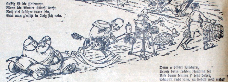 Faschingszug 1934: Käfig mit Vogel usw.