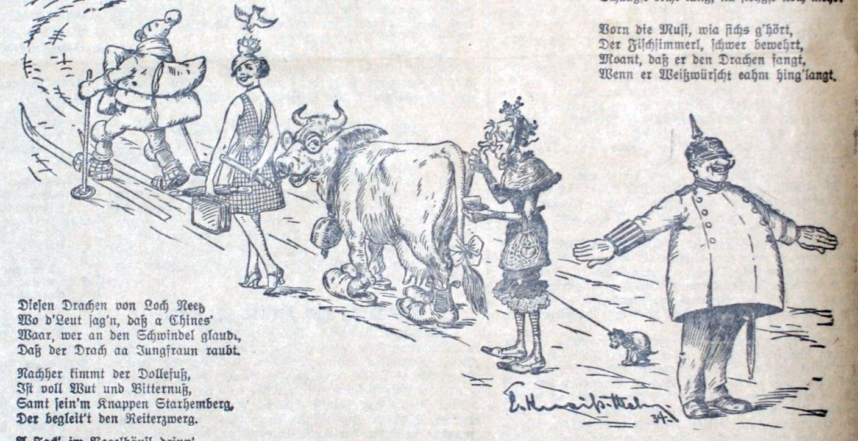 Faschingszug 1934: Fräulein Zibebn und Schutzmann