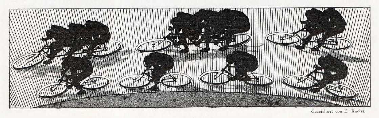 Schattenrisse von Radfahrern auf einer Bahnkurve