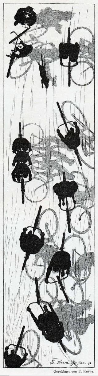 Bild: Schattenbilder von Radfahrern von oben