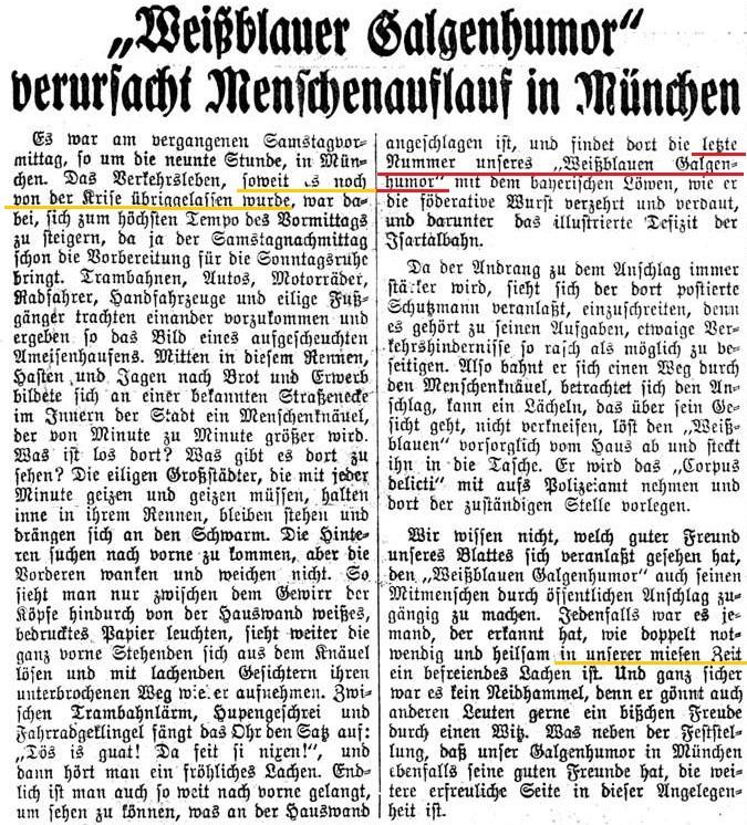 """Zeitungsmeldung: """"Galgenhumor"""" verursacht Menschenauflauf in München"""