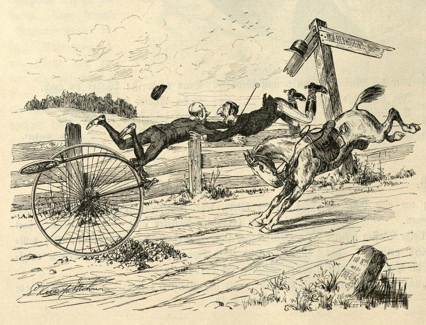 Hochradfahrer und (jüdischer) Reiter stürzen sich in die Arme