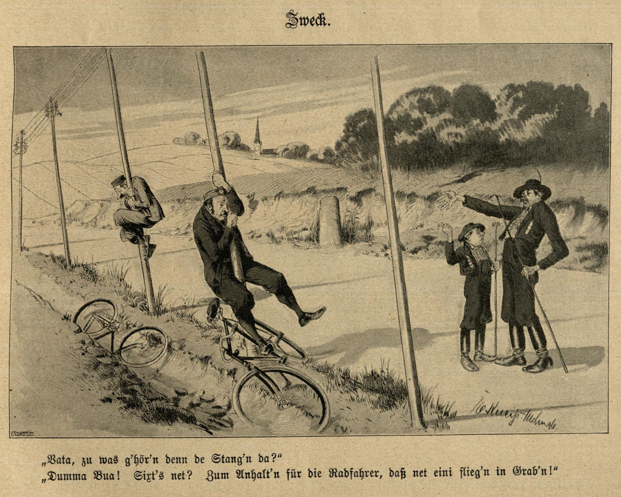 1896: Radfahrer halten sich an Telegrafenstangen fest.