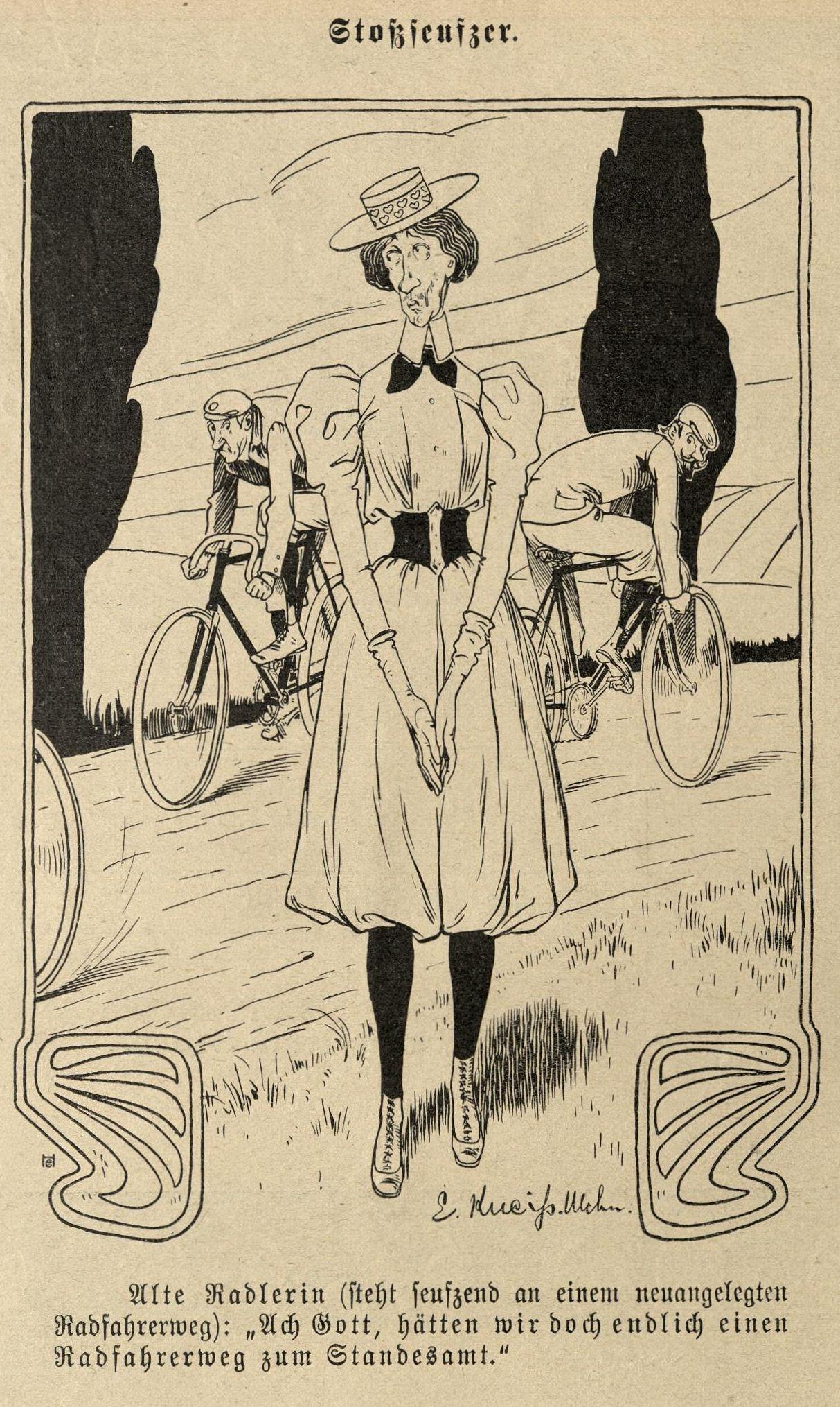 Alte Radlerin möchte Radfahrweg zum Standesamt