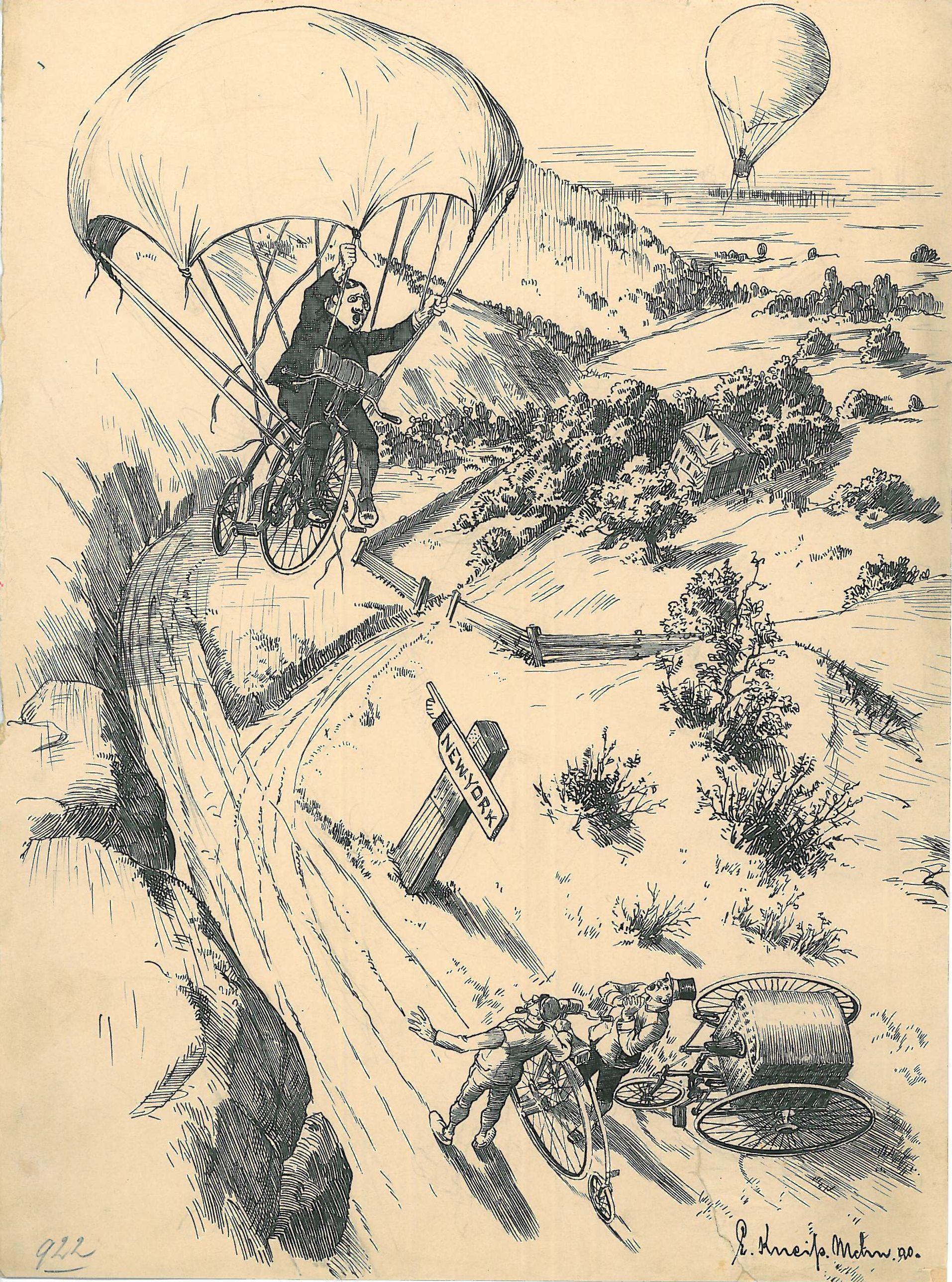 """Bild aus der """"Reise um die Erde auf dem Zweirad"""": Schnoddrig kehrt mit dem Fallschirm zur Erde zurück"""