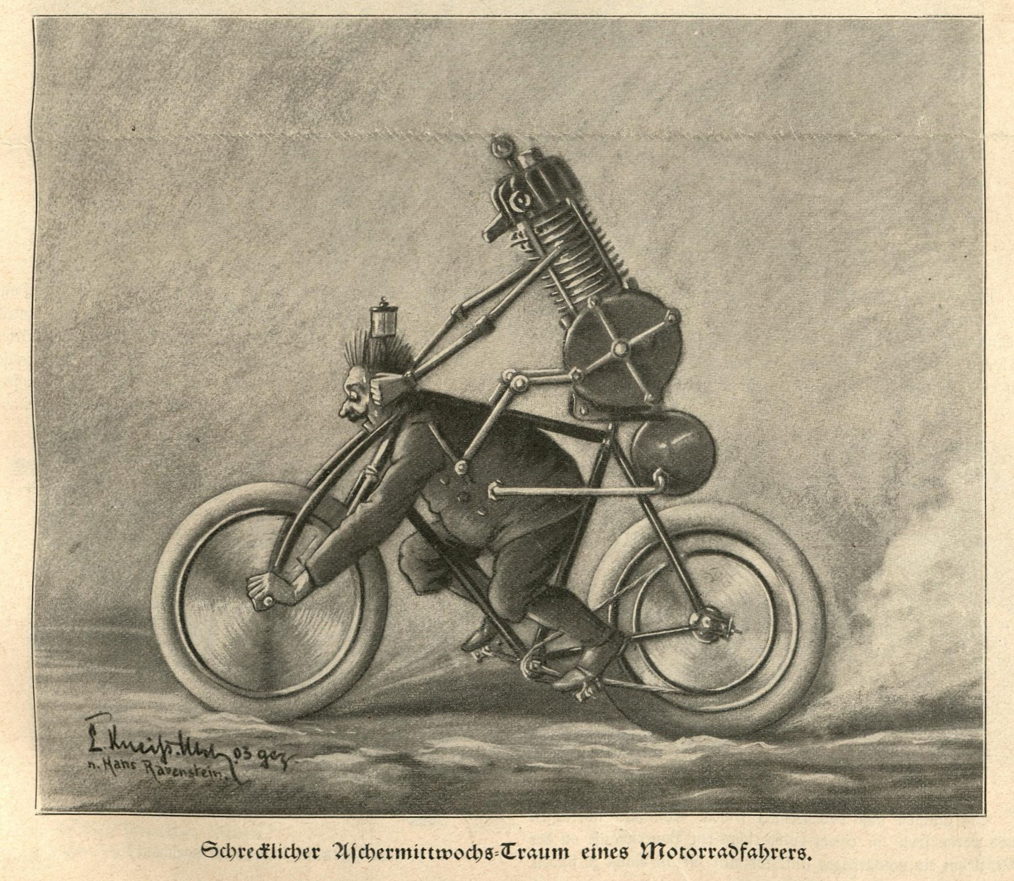 Schrecklicher Aschermittwochs-Traum eines Motorradfahrers