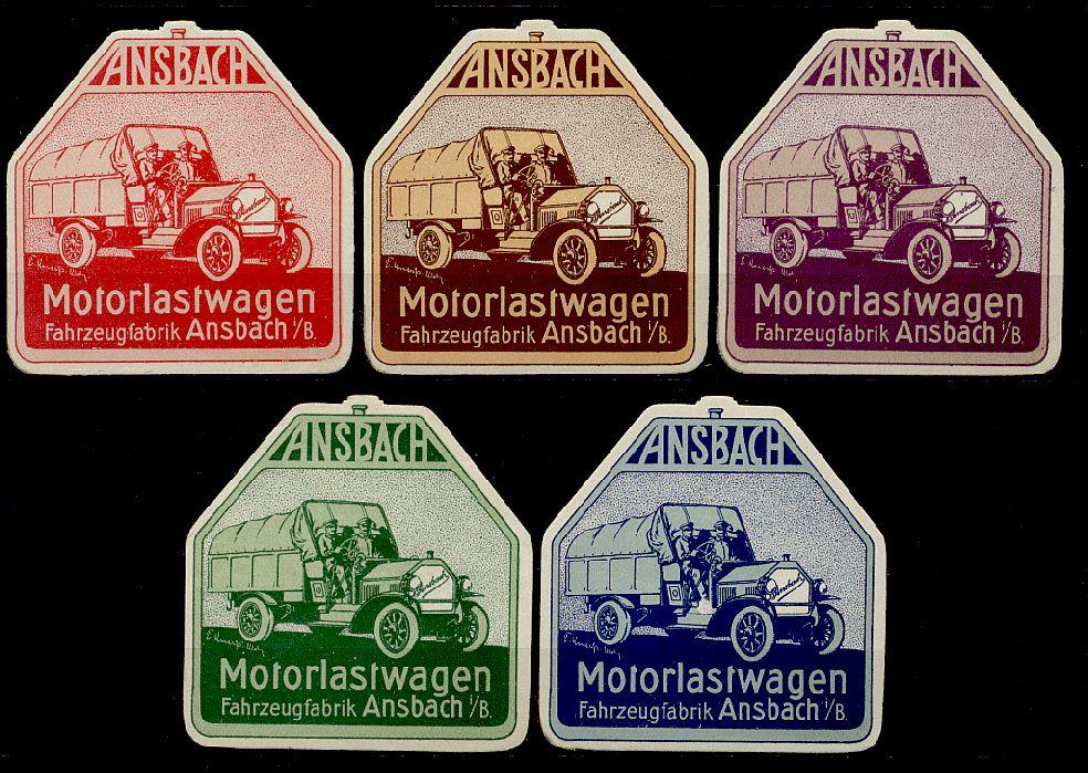 Verschlussmarken Motorlastwagen der Fahrzeugfabrik Ansbach in Bayern