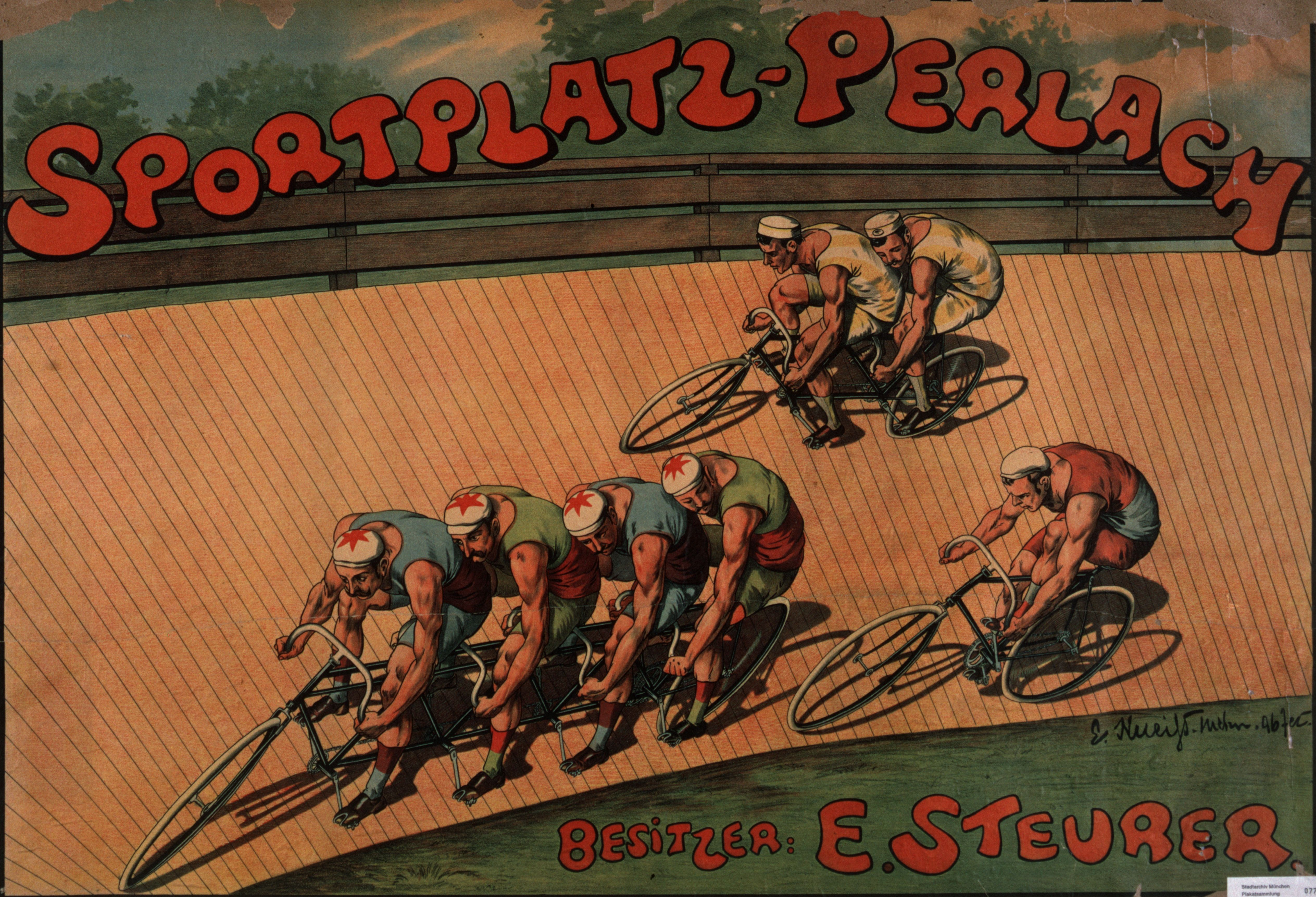 Plakat: Sportplatz Perlach Besitzer E. Steurer