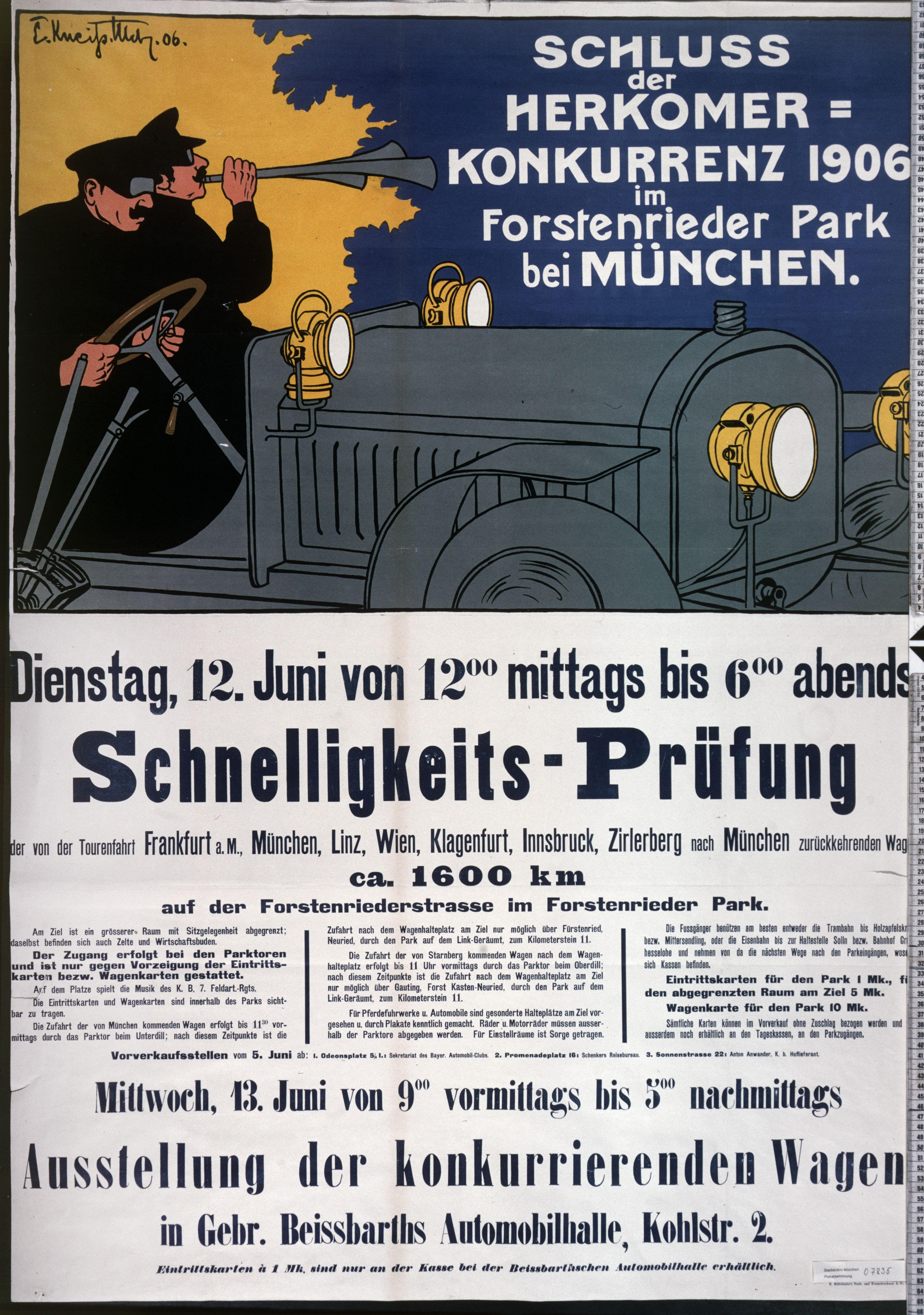 Plakat: Schluss der Herkomer-Konkurrenz 1906