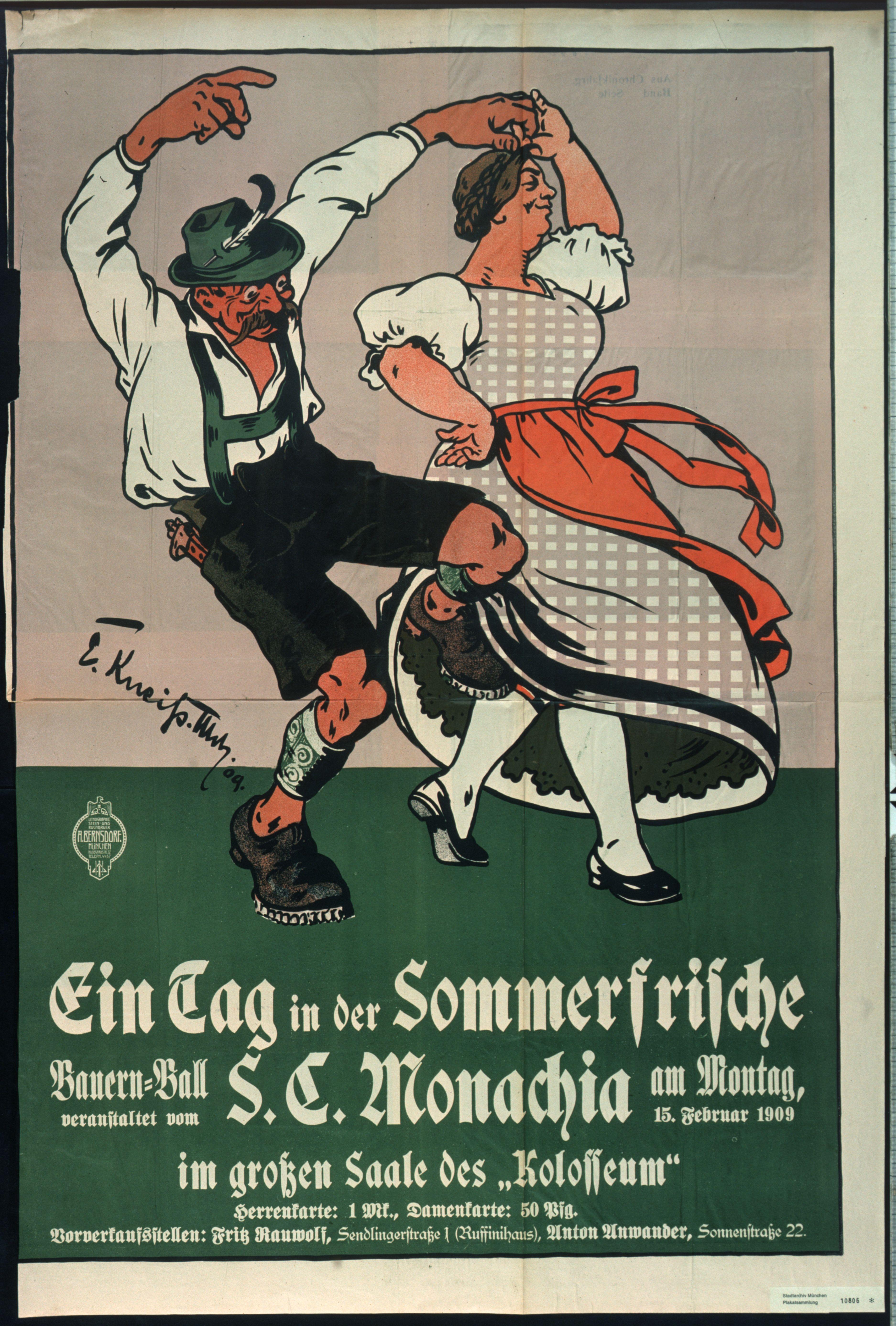 Plakat: Ein Tag in der Sommerfrische, Bauernball des S.C. Monachia