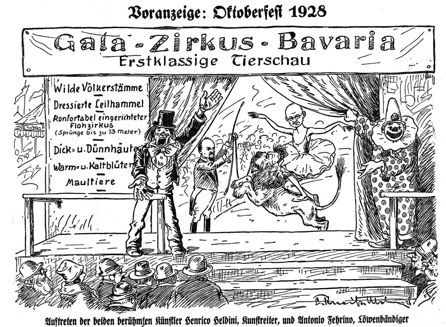Bild: Gala-Zirkus-Bavaria Heinrich Held, Kunstreiter, Anton Fehr, Löwenbändiger