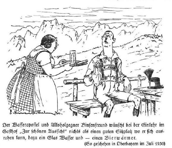 Bild Ein Glas Wasser und ein Bierwärmer ...