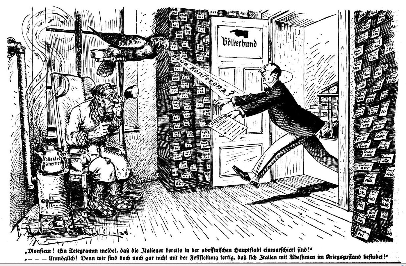 Bild: Telegramm, dass die Italiener bereits in der abbessinischen Hauptstadt einmarschiert sind
