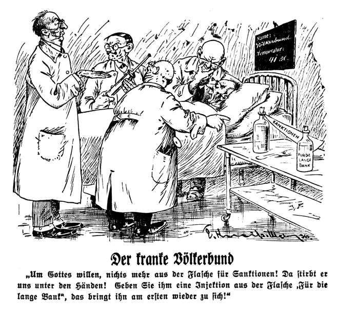 Der kranke Völkerbund (nichts mehr aus der Flasche für Sanktionen)