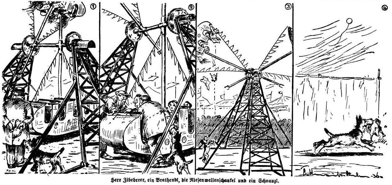Bild: Herr Zibeberer, ein Brathendl, die Riesenwellenschaukel und ein Schnauzl