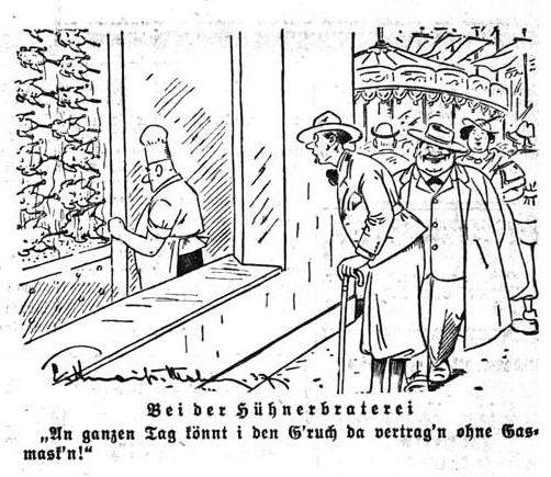 Bild: Bei der Hühnerbraterei (Geruch ohne Gasmaske gut verträglich)