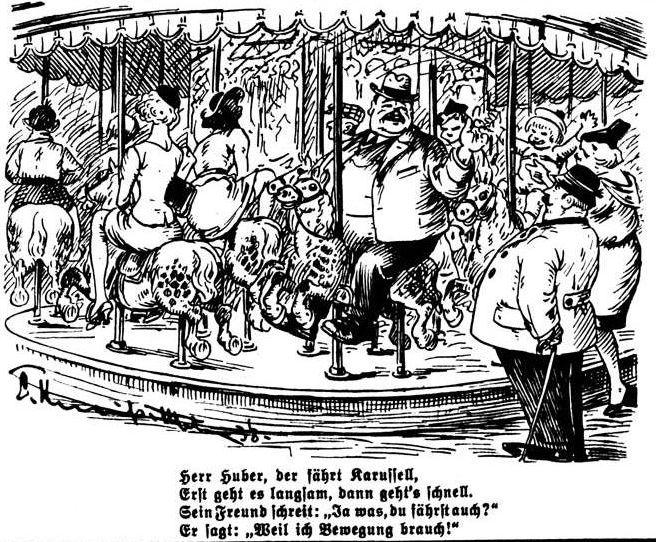 Bild: Herr Huber fährt Karussell, weil er Bewegung braucht!