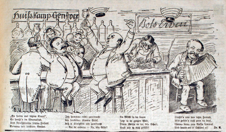 Bild: Stresemann, Wirth, Hilferding und Briand feiern (den Young-Plan)