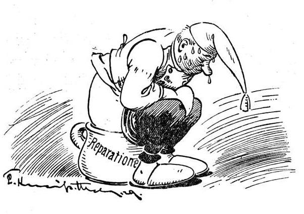 Bild: Der deutsche Michl auf dem Topf für Reparationen