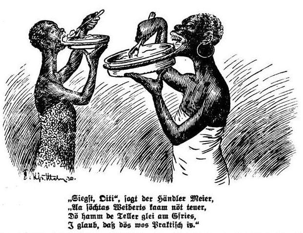 Bild: Völkerschau mit großlippigen Schwarzafrikanerinnen