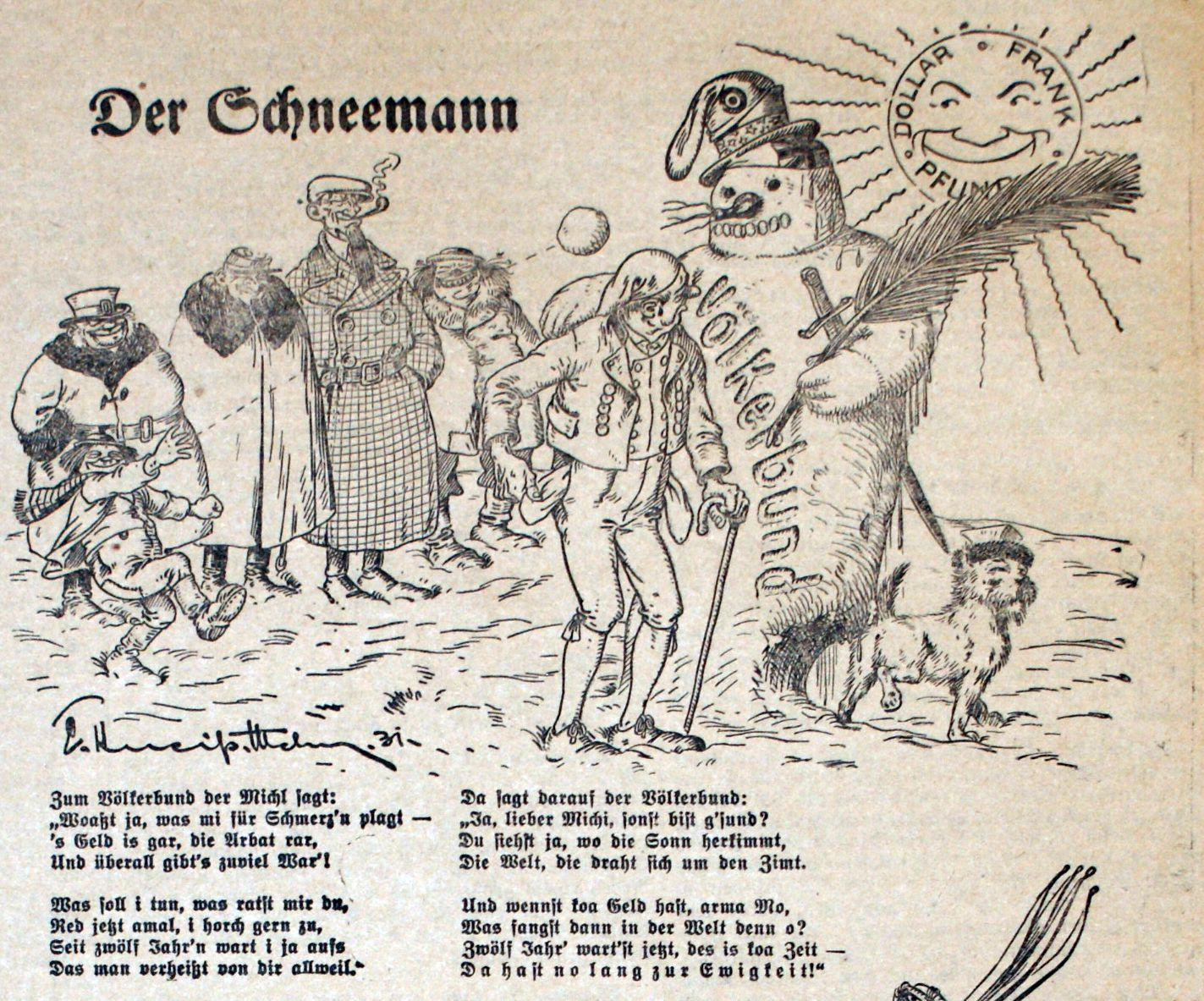 """Bild: Der Schneemann """"Völkerbund"""" schmilzt in der Sonne"""