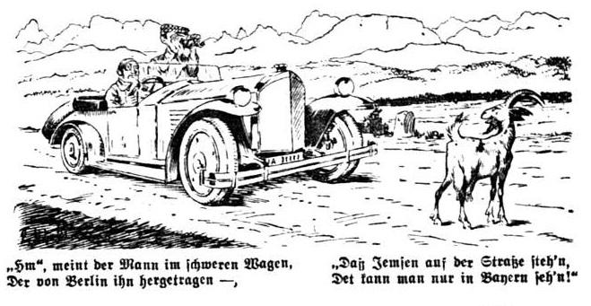 Bild Daß Jemsen auf der Straße steh'n, Det kann man nur in Bayern seh'n!
