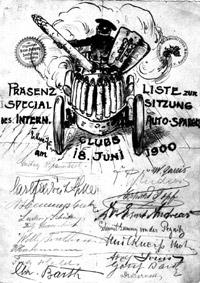 Präsenzliste bei der Specialsitzung des Intern. Auto-Spargel-Clubs