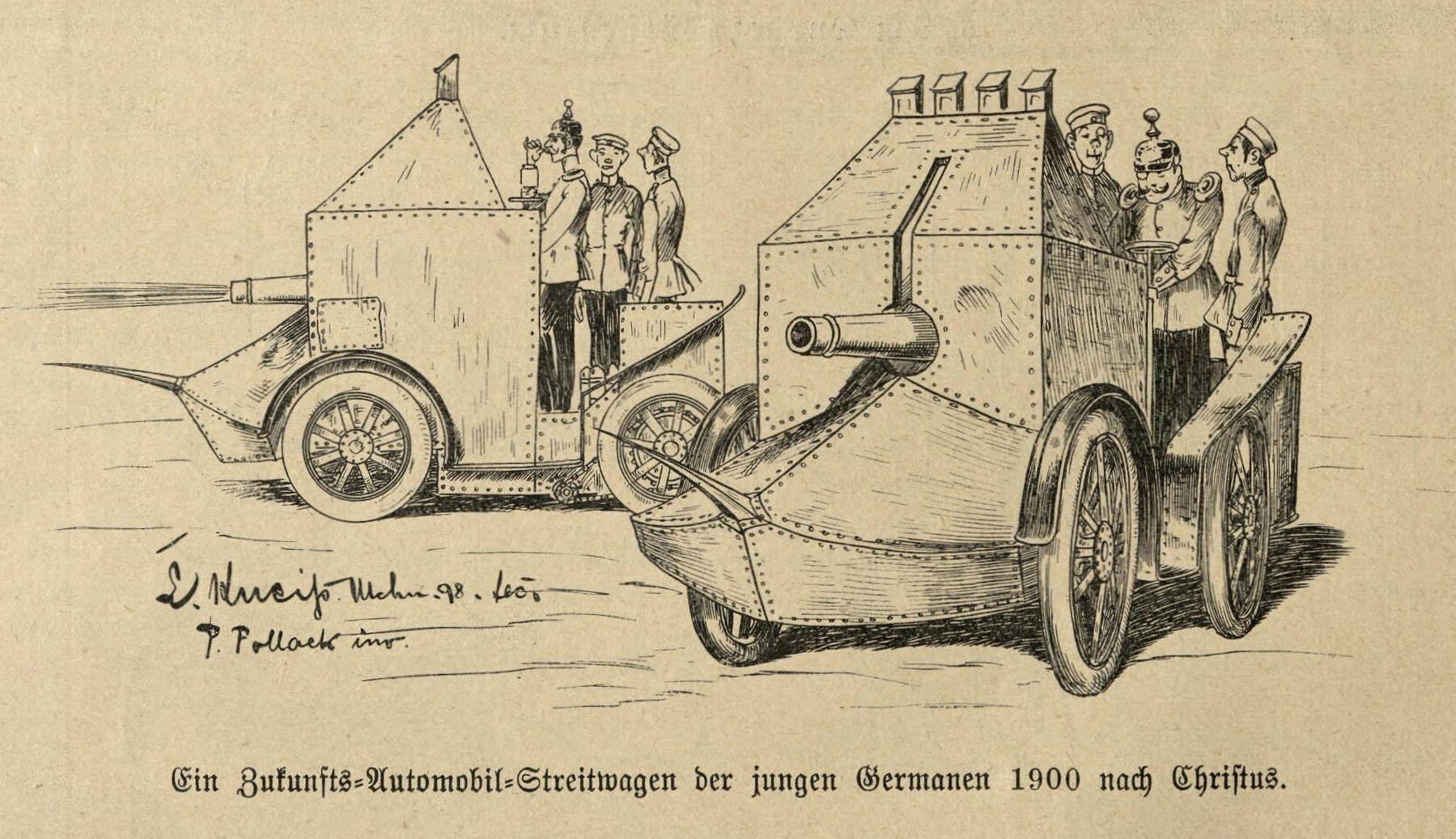 Bild: Ein Zukunfts=Automobil=Streitwagen der jungen Germanen 1900 n.C.