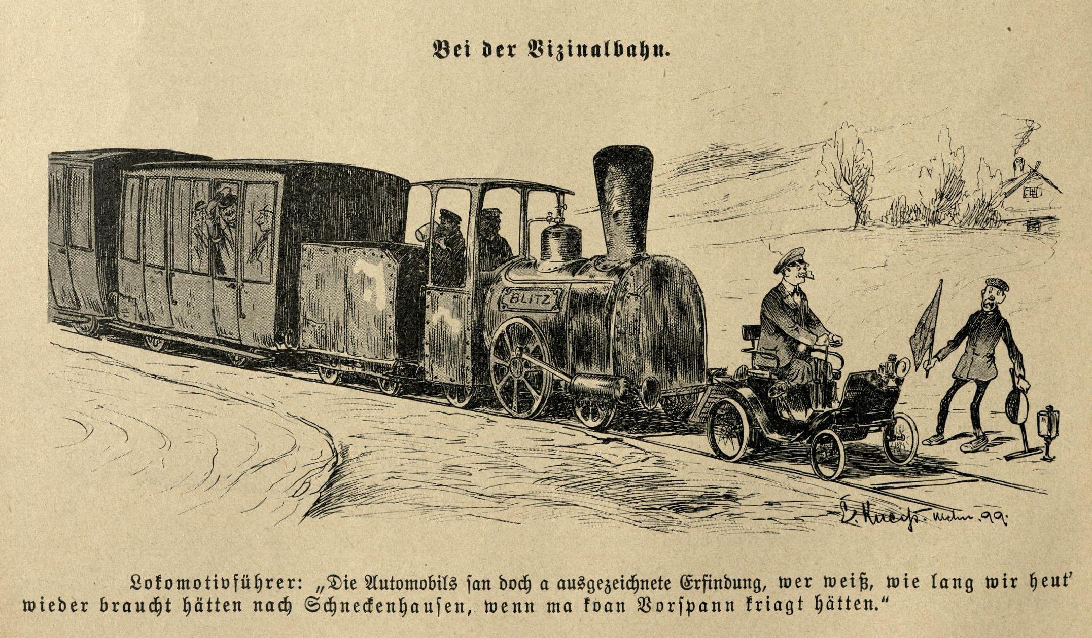 Bilde: Auto als Vorspann der Vizinalbahn
